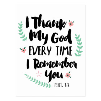I thank My God Postcard