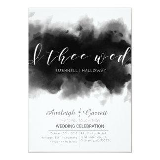 I Thee Wed Dark Watercolor Goth Wedding Invitation