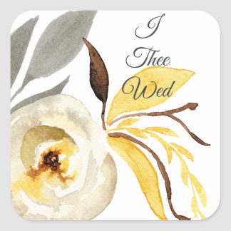 I Thee Wed Floral Wedding Stickers