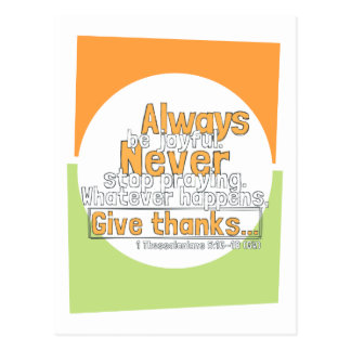 I Thessalonians 5:16-18 Give Thanks Postcard