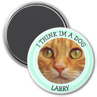 I think Im a Dog Cat Humorous Photo Button 3 Inch Round Magnet