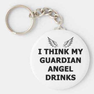 I Think My Guardian Angel Drinks Basic Round Button Keychain