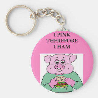 i think therefore i am ham joke keychain