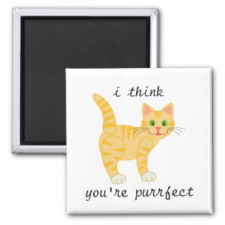 i think you're purrfect   Yellow Cat   Tiger Magnet