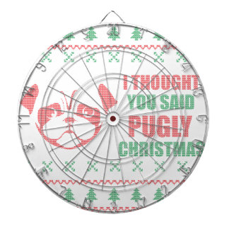 I Thought You Said Pugly Christmas Dartboard