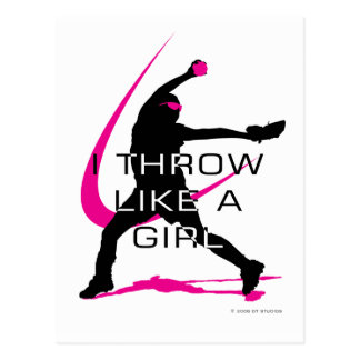 I Throw like a Girl Pink Softball Postcard