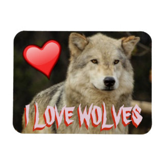 I TOO LOVE WOLVES - WOLVES ARE BEAUTIFUL AND FREE RECTANGULAR PHOTO MAGNET