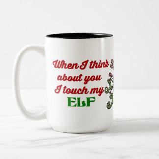 I Touch My Elf Christmas Humour Mug