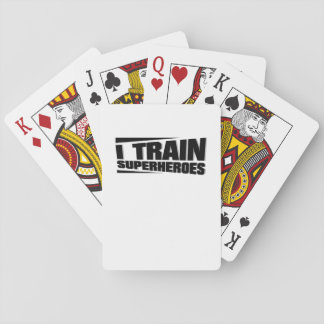 I Train Superheroes  Funny Gym workout trainer Playing Cards