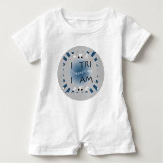 I Tri Therefore I am Triathlon Baby Romper