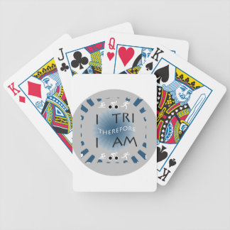 I Tri Therefore I am Triathlon Bicycle Playing Cards