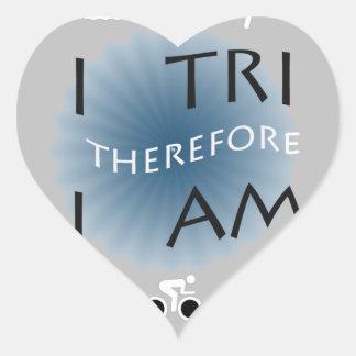I Tri Therefore I am Triathlon Heart Sticker