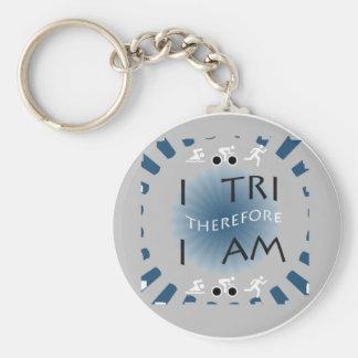 I Tri Therefore I am Triathlon Keychain