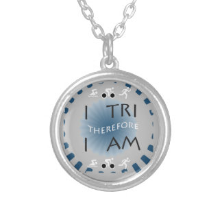 I Tri Therefore I am Triathlon Silver Plated Necklace