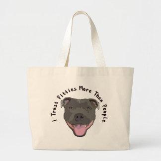I Trust Pitties Large Tote Bag