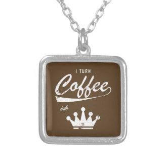 I Turn Coffee Into KOMs Silver Plated Necklace