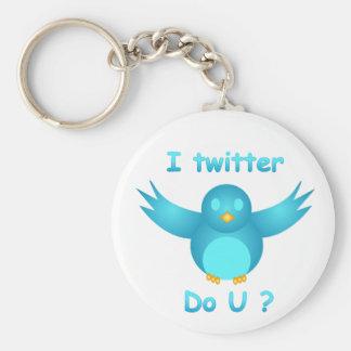 I TWITTER, DO U ? by SHARON SHARPE Basic Round Button Keychain
