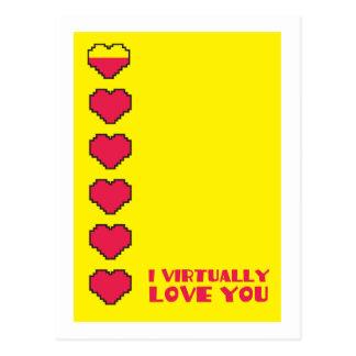 I virtually love you digital hearts postcard