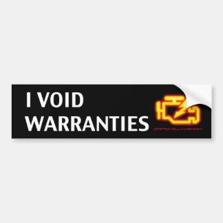 I Void Warranties Bumper Sticker