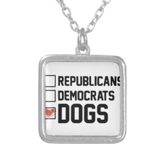 I Vote Dogs Silver Plated Necklace