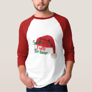i vote for beer funny christmas santa shirt