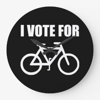 I Vote For Bicycle Large Clock
