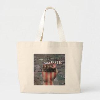 i vote large tote bag