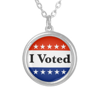 I Voted 2018 Elections Silver Plated Necklace