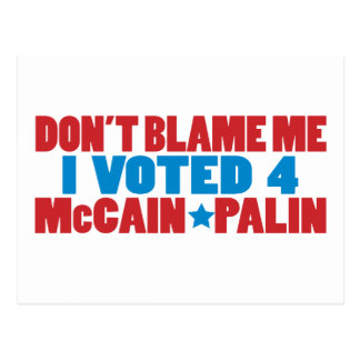 I Voted for McCain Palin Post Card