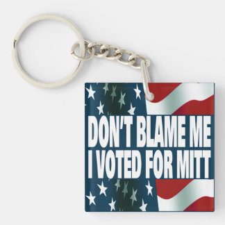 I Voted For Mitt Double-Sided Square Acrylic Keychain