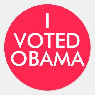I, VOTED, OBAMA CLASSIC ROUND STICKER