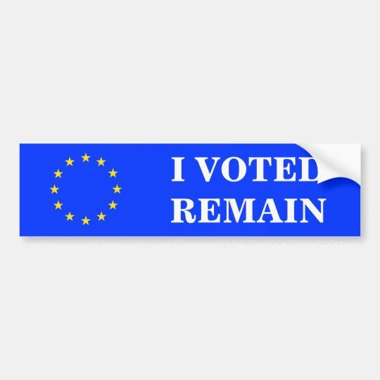 I VOTED REMAIN BUMPER STICKER
