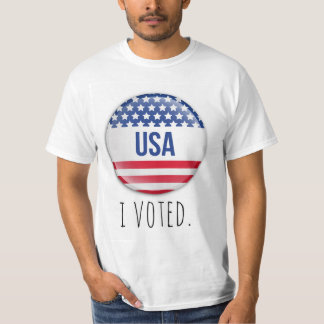 I Voted T-Shirt with USA Flag Theme Button