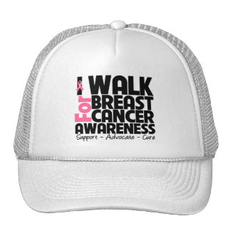 I Walk For Breast Cancer Awareness Trucker Hats