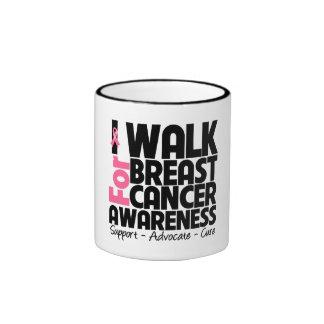 I Walk For Breast Cancer Awareness Ringer Mug
