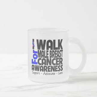 I Walk For Male Breast Cancer Awareness Frosted Glass Mug