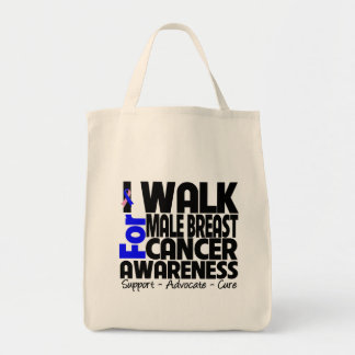 I Walk For Male Breast Cancer Awareness Grocery Tote Bag