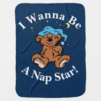 I Wanna Be a Nap Star Sleepy Time Bear Design Baby Blanket