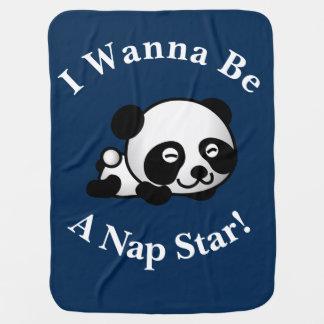 I Wanna Be a Nap Star Sleepytime Panda Bear Design Receiving Blanket
