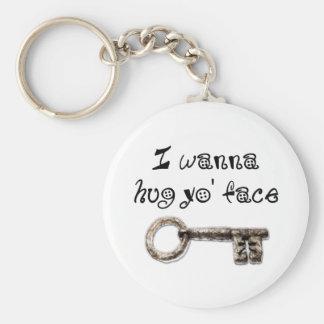 I wanna hug yo face (your) basic round button keychain
