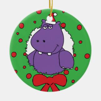 I want a Hippopotamus for Christmas Round Ceramic Ornament