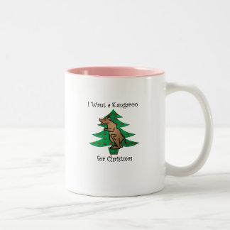 I want a kangaroo for christmas Two-Tone coffee mug