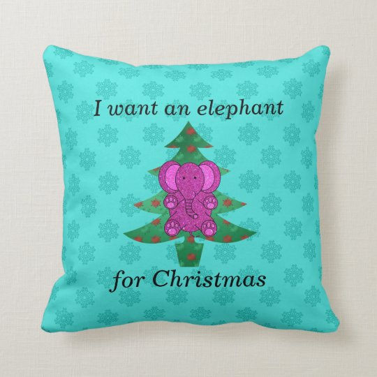 I want an elephant for christmas purple glitter throw pillow