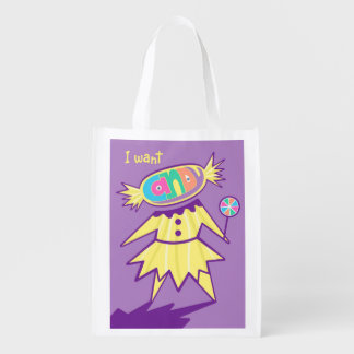 I Want Candy Sweet Tooth Reusable Grocery Bag