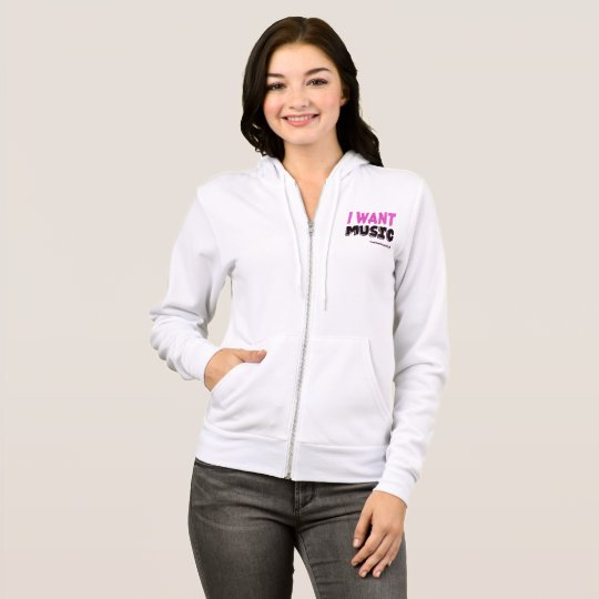 I Want Music Ladies Canvas Full-Zip Hoodie