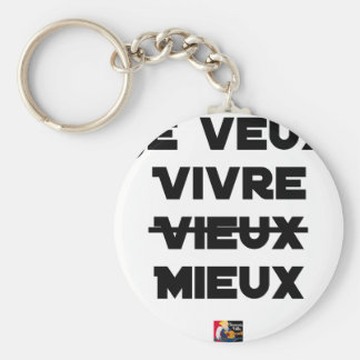I WANT TO LIVE VIEUX/MIEUX - Word games - Francoi Keychain
