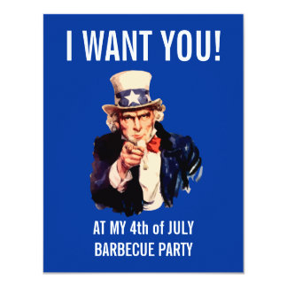 """I WANT YOU at my INDEPENDENCE BBQ PARTY 4.25"""" X 5.5"""" Invitation Card"""