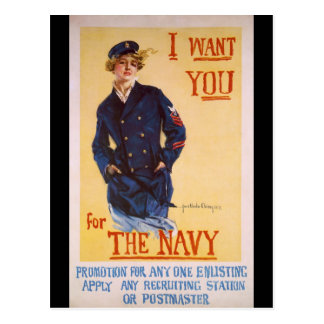 I Want You For The Navy World War I Recruiting Postcard