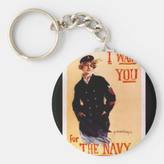I Want You For The Navy ~ WW I US Poster 1917 Basic Round Button Keychain