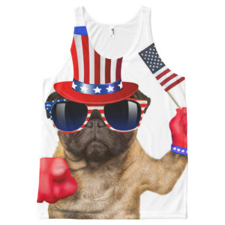 I want you ,pug ,uncle sam dog, All-Over-Print tank top